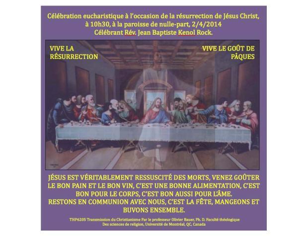 """Affiche de l'activité imaginée et proposée par Jean-Baptiste Kenol Rock lors du cours """"THP6205 Christianisme et Transmission"""" (Université de Montréal. Hiver 2014)"""