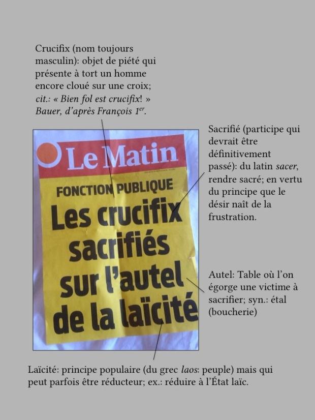 Manchette du quotidien suisse Le Matin