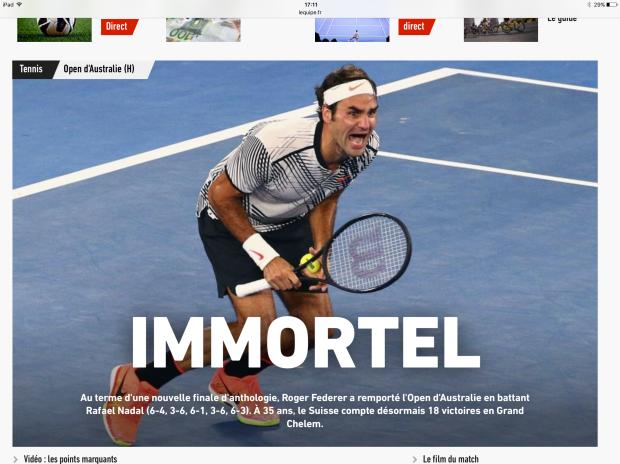 Le quotidien L'Equipe titre une photo de Roger Federer: