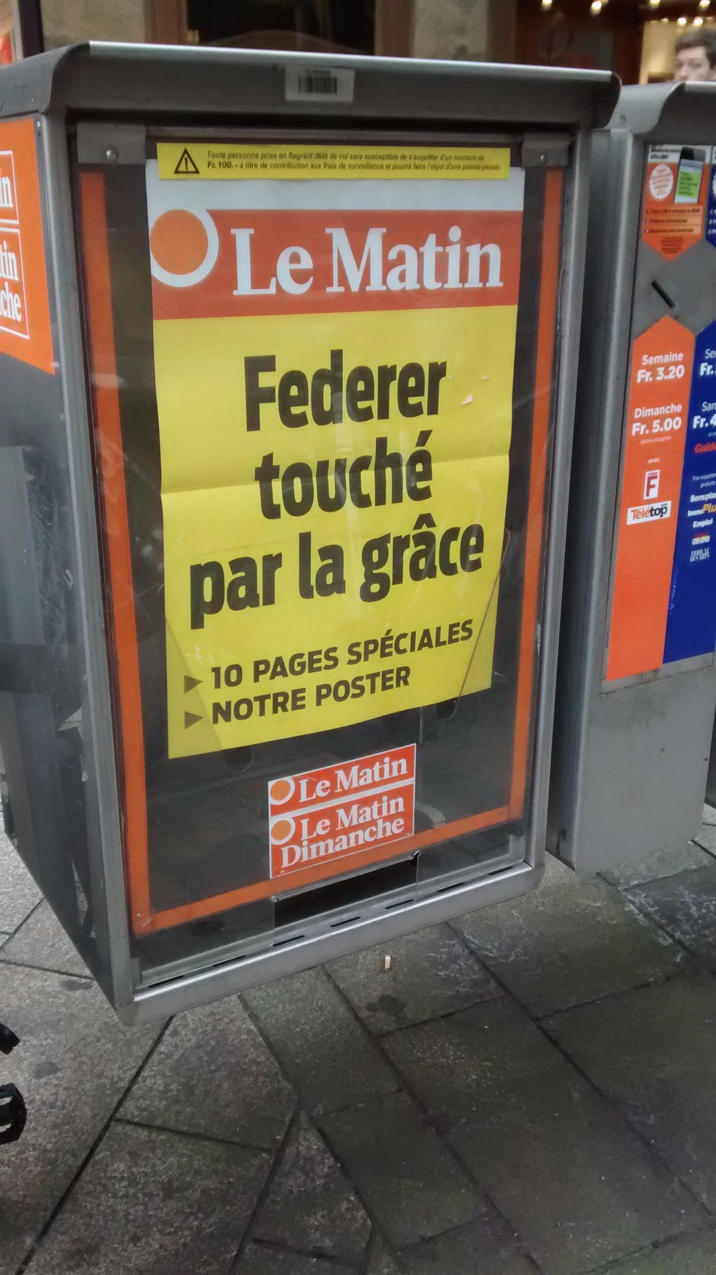 Le quotidien suisse Le Matin affiche en manchette: