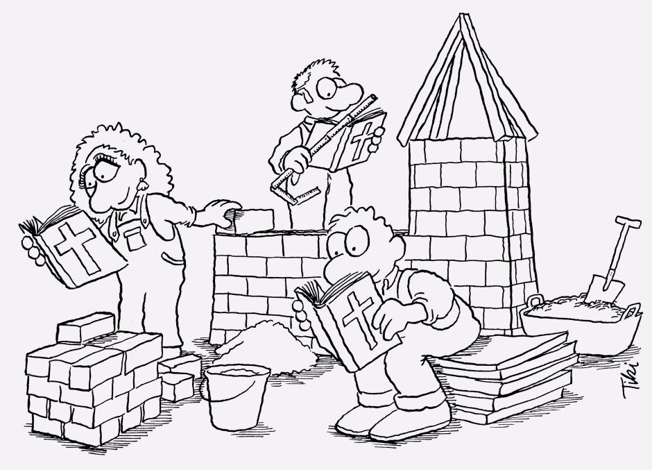 Trois personnages construisent une église en lisant la Bible. Un homme est assis tandis qu'une femme pose une brique et qu'un autre homme prend des mesures.