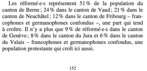 Extrait de la page 152 de mon ouvrage 500 ans de Suisse romande protestante
