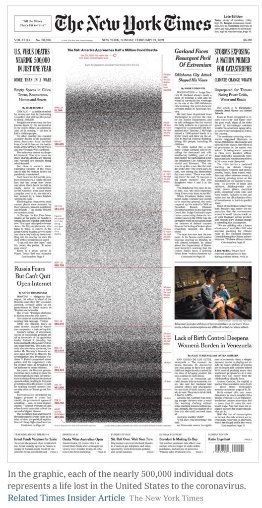 Une du New York Times comémmorant 500'000 mort·es de la Covid-19