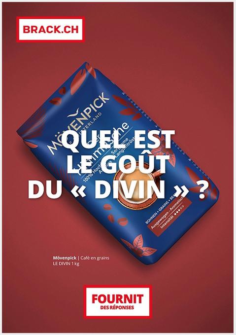 """Publicité pour Brack.ch. Un paquet de café Mövenpick Le Divin avec ce te question: """"Quel est le goût du """"divin""""?"""""""